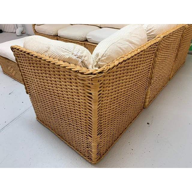 Seven Piece Wicker Sectional Sofa in the Manner of Michael Taylor For Sale - Image 6 of 9