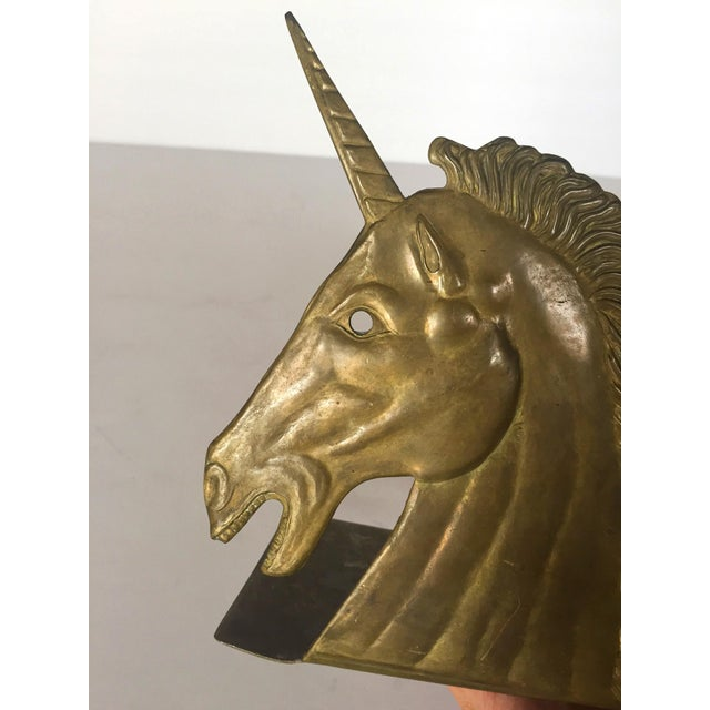 Vintage Brass Unicorn Bookend - Image 3 of 5
