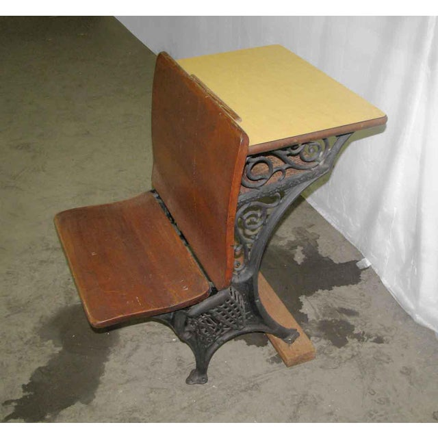 Antique School Desk with Iron Legs - Image 5 of 11 - Antique School Desk With Iron Legs Chairish
