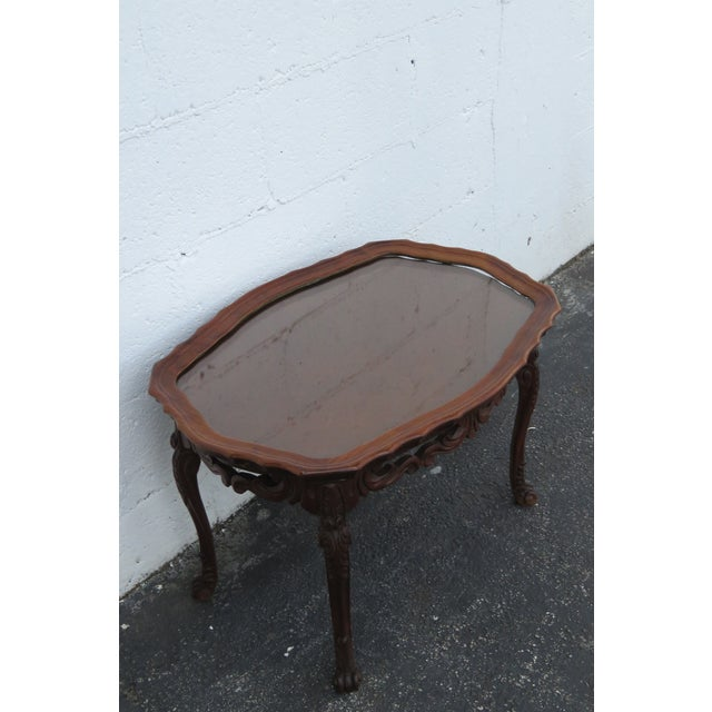 Wood French Early 1900s Hand Carved Coffee Table With Serving Glass Tray 2357 For Sale - Image 7 of 11