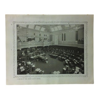 """1906 """"A Meeting of the London County Council"""" Famous View of London Print For Sale"""