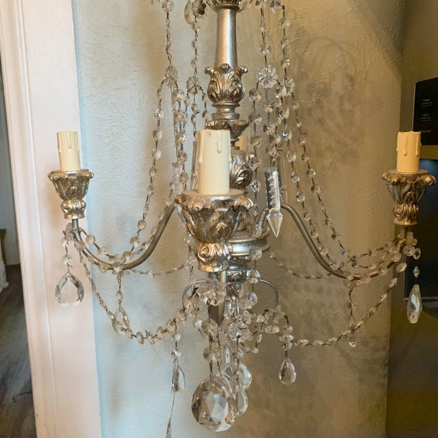 Italian 1940s Italian Crystal and Silver Gilt Iron Four Arm Chandelier For Sale - Image 3 of 12