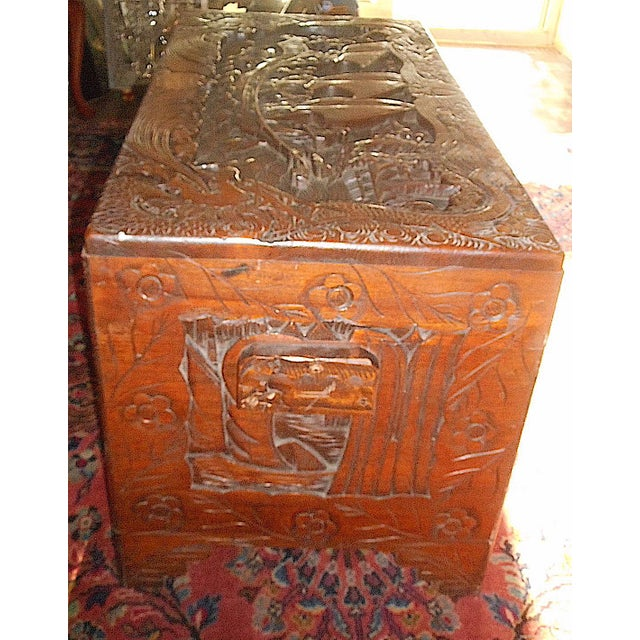 Antique Original Hand Carved Mahogany Chest/Coffee Table-Camphorwood Lined For Sale - Image 4 of 10