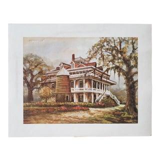 1975 Louisiana House Portrait Lithograph by Oscar Leonidas Coleman For Sale