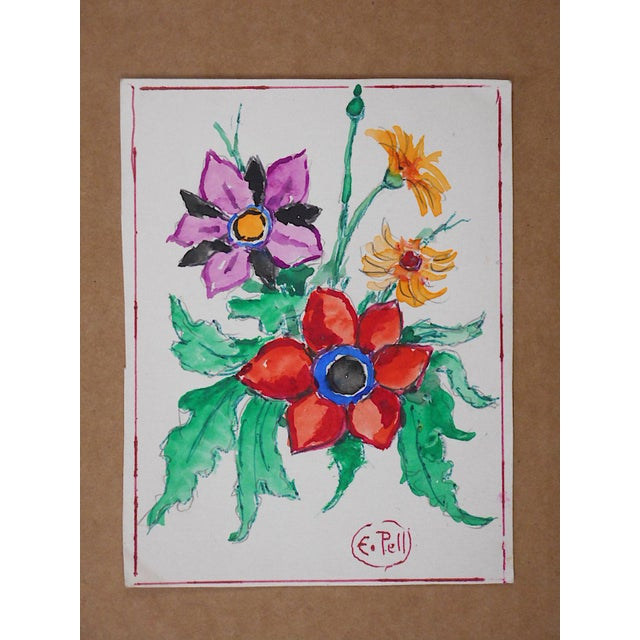 Original Vintage Mid 20th C. Watercolor-Floral Still Life by E. Pell-Signed For Sale - Image 9 of 9