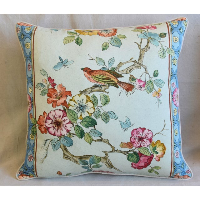 "Asian English Chinoiserie Floral & Birds Feather/Down Pillows 24"" Square - Pair For Sale - Image 3 of 12"