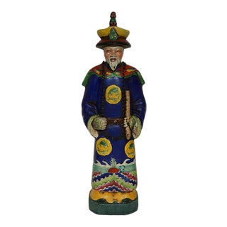 Early 20th Century Chinese Colorful Qing Emperor King Figure For Sale