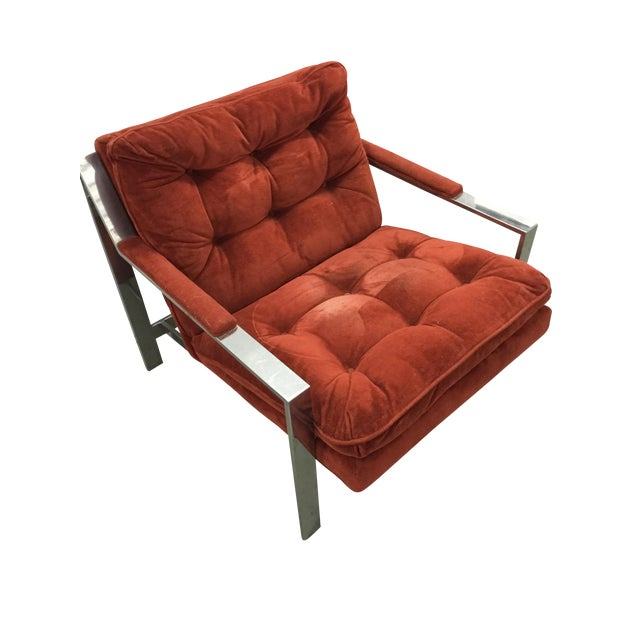 Milo Baughman Chrome and Velvet Lounge Chair - Image 1 of 7