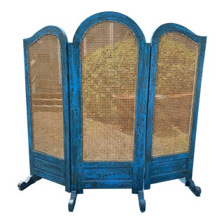 Turquoise Scrubbed Wood and Caned 3 Panel Screen For Sale