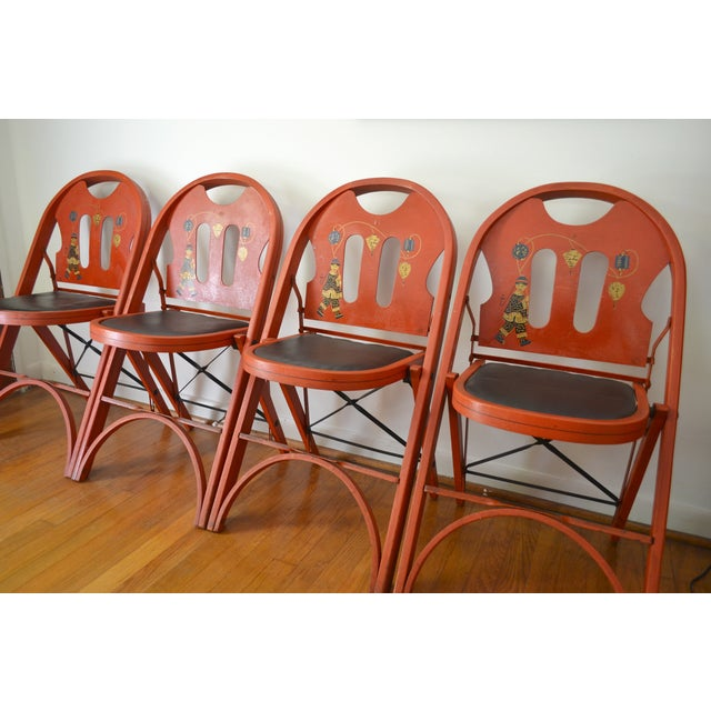 Louis Rastetter Red Folding Chairs- Set of 4 - Image 5 of 7