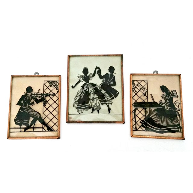 1930s Vintage Musical Trio Reverse Painted Convex Glass Silhouettes - Set of 3 For Sale - Image 5 of 5