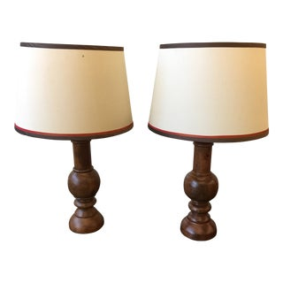 Early 20th Century Hand Turned Wooden Lamps - a Pair For Sale