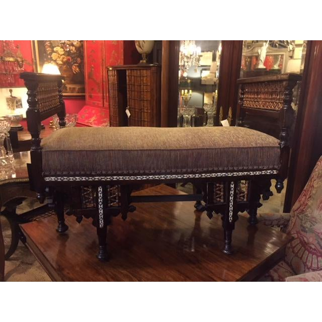 1960s Vintage Moroccan Inlaid Bone Handled Bench For Sale - Image 5 of 11