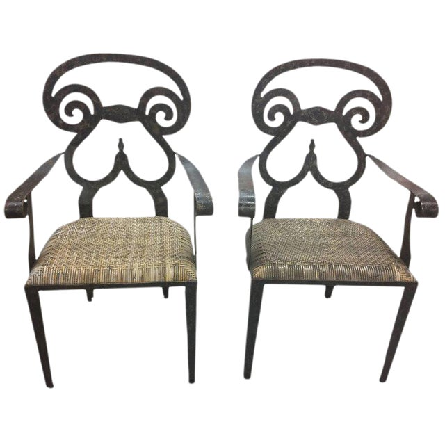 Hand-Forged Iron & Rattan Armchairs - a Pair For Sale