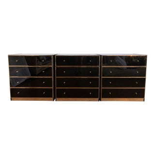 Mid Century Modern Black Lacquer and Gold Dressers - Set of 3 For Sale