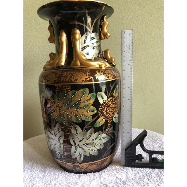"""Asian Large 14"""" Tall Vintage Asian Style Black and Gold Vase For Sale - Image 3 of 6"""