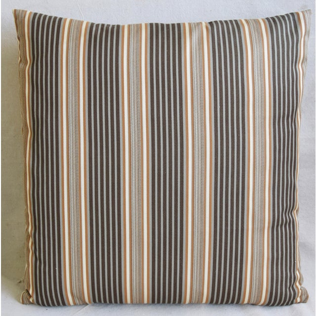 "Abstract French Striped Ticking Feather/Down Pillows 24"" Square - Pair For Sale - Image 3 of 11"