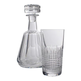 1970s Baccarat Crystal Cocktail Nancy and Tallyrand Pattern Decanter and Highball Glass Set - a Pair For Sale