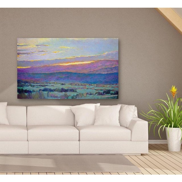 Gallery-wrapped canvas sides painted grey. Ready to hang. Framing optional. Signed by artist