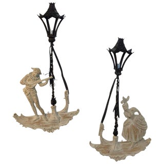 Pair of Fabulous Hollywood Regency Venetian Wall Sconces by Palladio For Sale