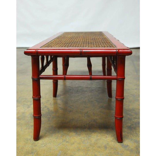 Red Lacquer Faux Bamboo Cane Bench - Image 5 of 5