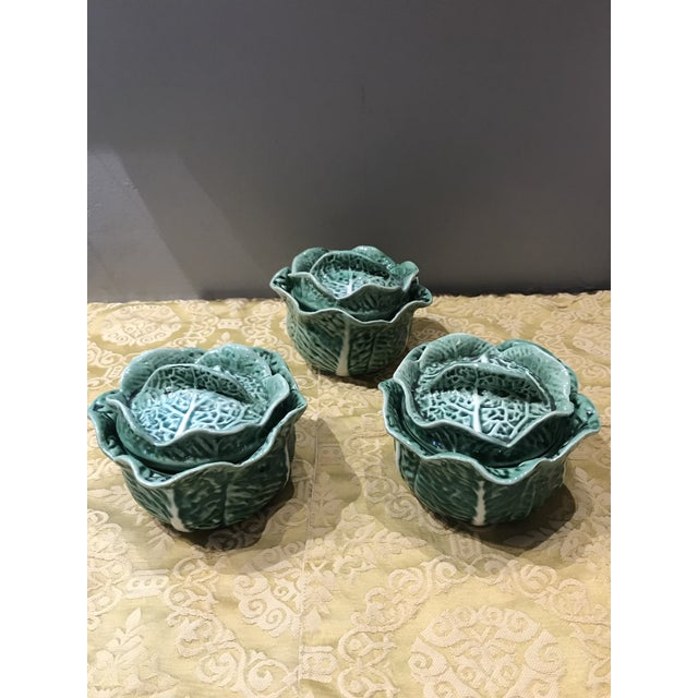Vintage Secla Majolica Green Cabbage Covered Soup Bowls - Set of 3 For Sale - Image 12 of 12