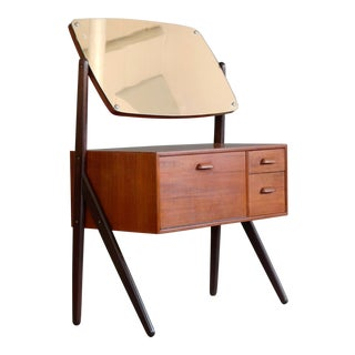 Danish Teak Y-Leg Vanity Table With Mirror by Sigfried Omann for Olholm Mobler For Sale
