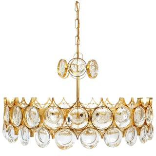 Pair of Beautiful Gold Plated Brass and Glass Chandeliers Lamps, Palwa 1960 For Sale