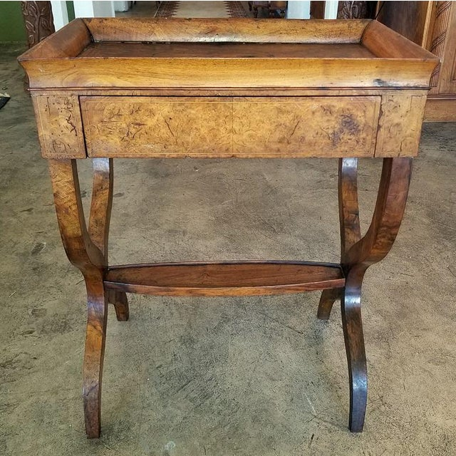 18c French Provincial Burl Walnut Lyre Work Table For Sale - Image 11 of 13
