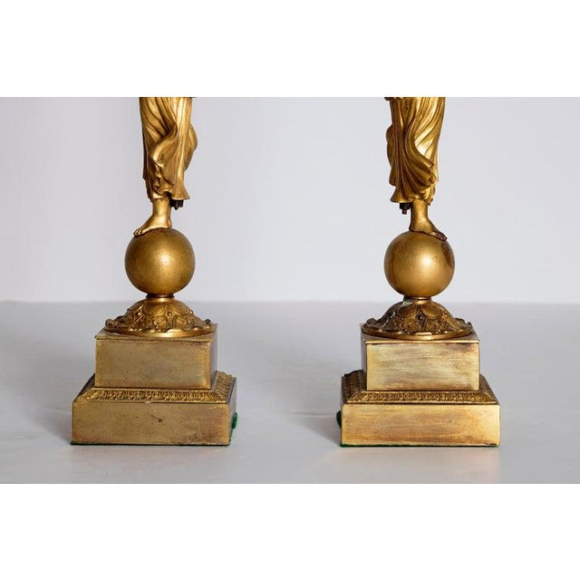 Gold Early 19th Century Pair of French Empire Gilt Bronze Centerpiece Tazzzas For Sale - Image 8 of 13