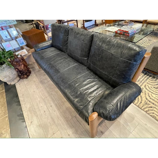 MCM Danish Sofa in Black Leather For Sale - Image 9 of 13