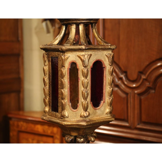 Yellow 18th Century Italian Carved Giltwood Three-Light Lantern With Stained Glass For Sale - Image 8 of 13