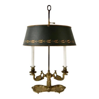 19th Century French Bouilotte Lamp with Tole Shade For Sale
