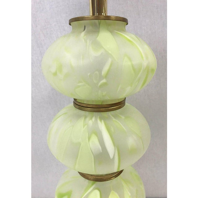 Seguso Mid Century Modern Green Italian Murano Glass Ball Lamps - a Pair For Sale - Image 4 of 5
