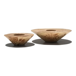 Pair of Burl Wood Candleholders For Sale