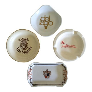 Vintage Mid Century International Hotel & Restaurant Ceramic Ashtrays - Set of 4 For Sale