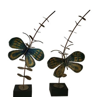 Mid-Century Modern Brutalist Metal Butterfly Sculptures - A Pair