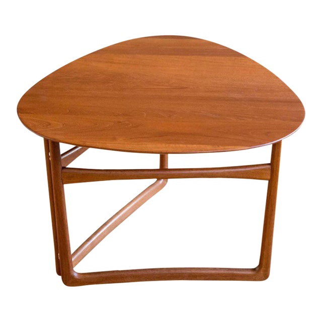 Triangular Teak Folding Table by Peter Hvidt & Orla Mølgaard-Nielsen For Sale