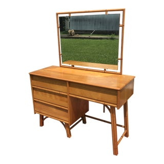 1950s Mid-Century Modern Heywood-Wakefield Maple and Faux Bamboo Vanity For Sale