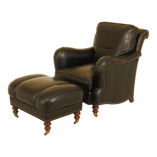 Whittemore-Sherrill Black Leather Club Chair & Ottoman