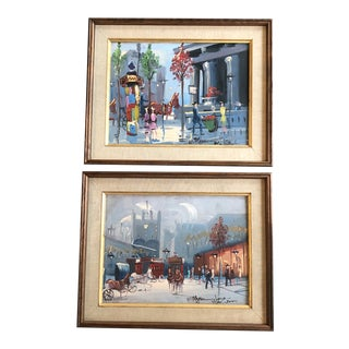 Gallery Wall Collection Original Vintage Paris Street Scene Paintings - a Pair For Sale
