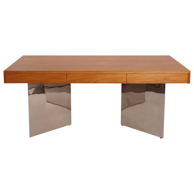 Teak and Polished Steel Desk by Pace For Sale