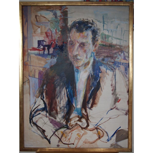 Original Herbert Beerman Mid-Century Modern Abstract Man In Suit Portrait Oil / Masonite Board Painting For Sale - Image 9 of 9