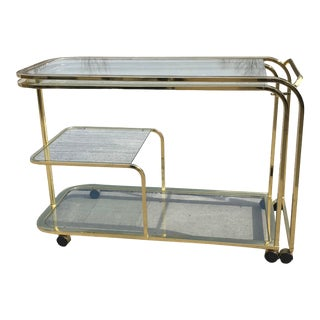 Milo Baughman Expandable Bar Cart for Design Institute America 'Dia' For Sale