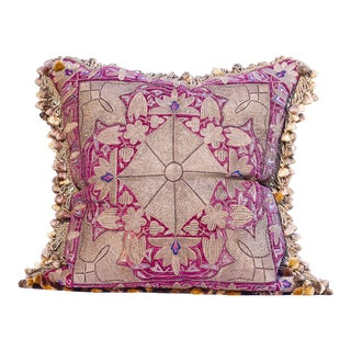 18th Centurty Sivler Thread & Silk Velet Embroidered Textile Pillow With Silk Janet Yonati Tasels For Sale