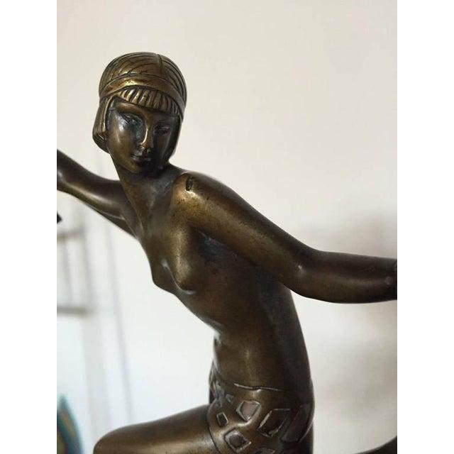 Art Deco Circa 1920 Fanny Rozet Signed Original Art Deco Nude Bronze Scarf Dancer For Sale - Image 3 of 10