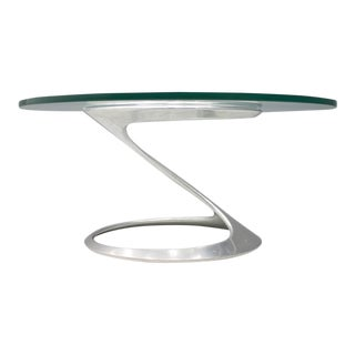 Sculptural Coffee Table in Glass and Aluminum by Knut Hesterberg 1974 For Sale