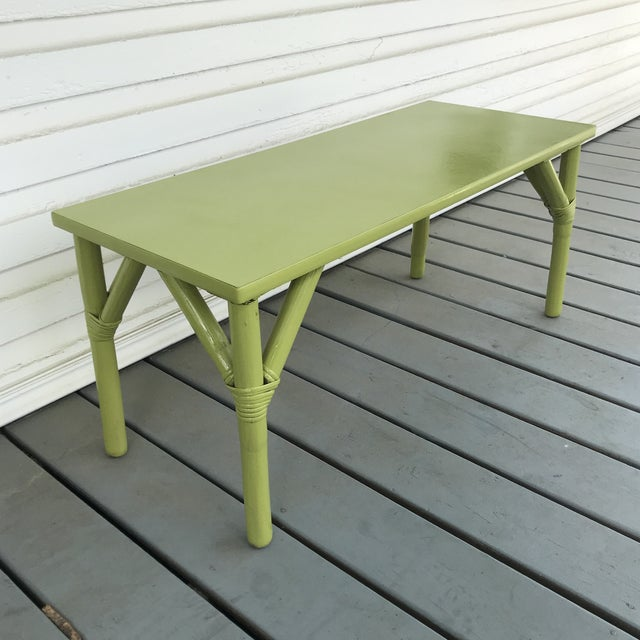Apple green painted bamboo coffee table. Would be a fun pop of color wherever it goes! Matching side table available.