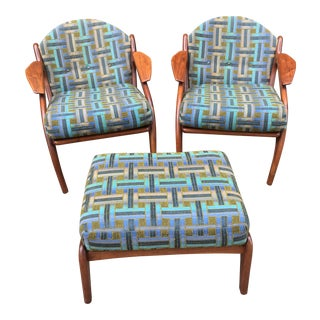 Vintage Adrian Pearsall Mid-Century Modern Chairs With Ottoman - 3 Pc. Set For Sale