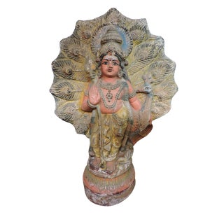 Old Terra Cotta Hindu Goddess Figure With Peacock